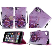 Insten Flowers Diamond Flip Leather Stand Fabric Case w/Lanyard For Apple iPhone 6 / 6s - Purple/White