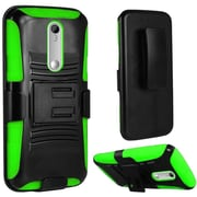 Insten Hard Hybrid Rugged Shockproof Plastic Silicone Case w/Holster For Motorola Moto X Style - Black/Green