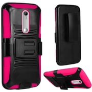 Insten Hard Dual Layer Plastic Silicone Cover Case w/Holster For Motorola Moto X Style - Black/Hot Pink