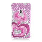 Insten Hearts Hard Diamante Case For Nokia Lumia 521 - Hot Pink