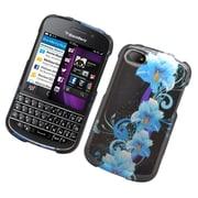 Insten Flowers Hard Case For BlackBerry Q10 - Black/Blue