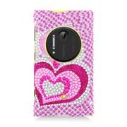 Insten Hearts Hard Diamante Case For Nokia Lumia 1020 - Hot Pink