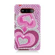 Insten Hearts Hard Full Diamond Case For Nokia Lumia 820 - Hot Pink