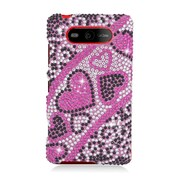 Insten Hearts Hard Diamond Case For Nokia Lumia 820 - Hot Pink