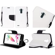 Insten Flip Leather Case Lanyard w/stand For LG K4/Optimus Zone 3/Spree - White