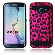 Insten Leopard Hard Dual Layer Rubber Silicone Case w/card holder For Samsung Galaxy S6 Edge - Hot Pink/Black