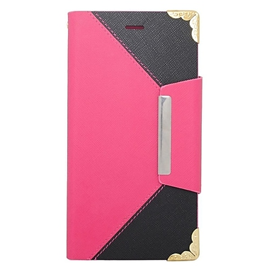 Insten Book-Style Leather Case with Card holder For Apple iPhone 6s Plus / 6 Plus - Pink/Black