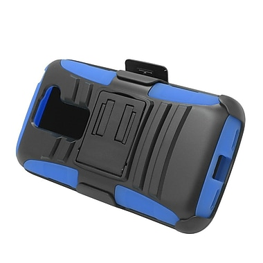 Insten Hard Dual Layer Plastic Silicone Stand Case with Holster For LG G2 Mini - Black/Blue