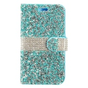 Insten Diamond Bling PU Leather Flip Wallet Pouch Card Stand Case Cover For ZTE Grand X 4 - Blue/Silver