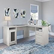"Bush Furniture Cabot 60"" L-Shaped Desk with Desktop Organizers, Linen White Oak (CAB065LW)"