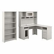 "Bush Furniture Cabot 60"" L-Shaped Desk with Hutch and 5-Shelf Bookcase, Linen White Oak (CAB011LW)"
