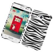 Insten Zebra Hard Rubberized Case For LG Optimus L70 / Optimus Exceed 2 VS450PP/Realm - White/Black
