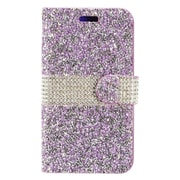 Insten Diamond Bling PU Leather Flip Wallet Pouch Card Stand Case Cover For ZTE Grand X 4 - Purple/Silver