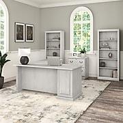 "Bush Furniture Saratoga 66"" L-Shaped Computer Desk with File Cabinet and Bookcase Set, Linen White Oak (SAR002LW)"