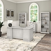 "Bush Furniture Saratoga 66""W Executive Desk with File Cabinet and Bookcase Set, Linen White Oak (SAR001LW)"