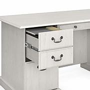 "Bush Furniture Saratoga 66"" Executive Desk with Drawers, Linen White Oak (EX45766-03K)"