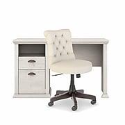 """Bush Furniture Yorktown 50"""" Computer Desk with Chair, Linen White Oak (YRK014LW)"""