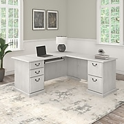 "Bush Furniture Saratoga 66"" L-Shaped Computer Desk with Drawers, Linen White Oak (EX45770-03K)"