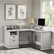 "Bush Furniture Yorktown 60"" L-Shaped Desk with Storage and Organizers, Linen White Oak (YRK013LW)"