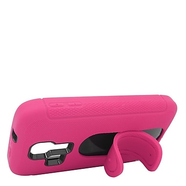 Insten Rubber Dual Layer Hard Cover Case with stand For Kyocera Hydro Icon 6730/Hydro Life 6530 - Hot Pink/Black