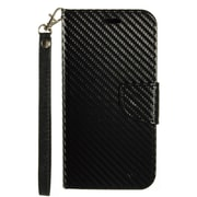 Insten Carbon Fiber Folio Leather Fabric Cover Case Lanyard w/stand/card holder For Samsung Galaxy J7 (2016) - Black