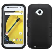 Insten Tuff Hard Dual Layer Rubberized Silicone Cover Case For Motorola Moto E(2nd Gen 2015) - Black