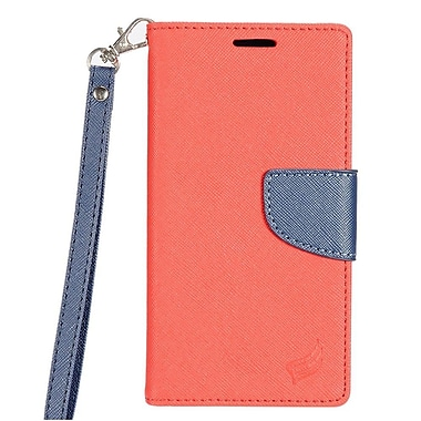 Insten Flip Leather Fabric Cover Case Lanyard w/stand/card slot For Samsung Galaxy J7 - Red/Dark blue