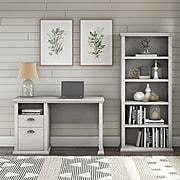 "Bush Furniture Yorktown 50"" Computer Desk with 5-Shelf Bookcase, Linen White Oak (YRK010LW)"