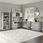 Bush Furniture Yorktown 60W L Shaped Desk with Hutch, Lateral File Cabinet and 5 Shelf Bookcase, Linen White Oak, (YRK003LW)