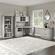 "Bush Furniture Yorktown 60"" Corner Desk with Hutch, Lateral File Cabinet and 5-Shelf Bookcase, Linen White Oak (YRK002LW)"