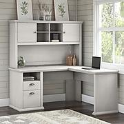 Bush Furniture Yorktown 60W L Shaped Desk with Hutch, Linen White Oak, (YRK001LW)