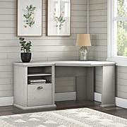 """Bush Furniture Yorktown 60"""" Corner Desk with Storage, Linen White Oak (WC40415-03)"""