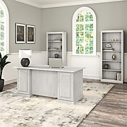 "Bush Furniture Saratoga 66""W Executive Desk and Bookcase Set, Linen White Oak (SAR003LW)"