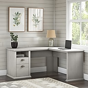 "Bush Furniture Yorktown 60"" L-Shaped Desk with Storage, Linen White Oak (WC40430-03)"