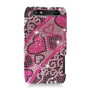 Insten Hearts Hard Diamante Cover Case For Motorola Droid Razr XT912 - Hot Pink