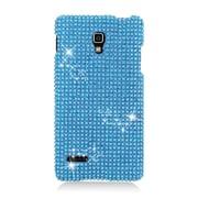 Insten Hard Rhinestone Cover Case For LG Optimus L90 - Light Blue
