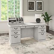 "Bush Furniture Saratoga 66"" Executive Desk with Drawers and Desktop Organizers, Linen White Oak, (SAR009LW)"