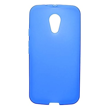Insten Transparent Frosted TPU Rubber Candy Skin Case Back Cover For Motorola Moto X (2nd Gen) - Blue