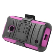 Insten Stand Dual Layer Hybrid Case with Holster For Nokia Lumia 530 - Black/Hot Pink