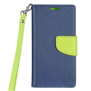 Insten PU Leather Wallet Flip Pouch Credit Card Stand Cover Case For LG Aristo - Blue/Green