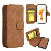 Insten Book-Style Leather Fabric Case Zipper wallet w/stand/card slot/Photo Display For Apple iPhone 7 Plus - Brown