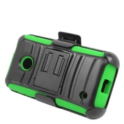 Insten Stand Dual Layer Hybrid Case with Holster For Nokia Lumia 530 - Black/Green