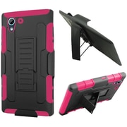 Insten Car Armor Hard Dual Layer Plastic Silicone Cover Case w/Holster For HTC Desire 626/626s - Black/Hot Pink