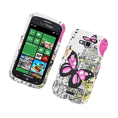 Insten Butterfly Hard Cover Case For Samsung ATIV Odyssey - White/Pink