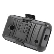 Insten Hard Hybrid Plastic Silicone Stand Case with Holster For Nokia Lumia 530 - Black/Gray