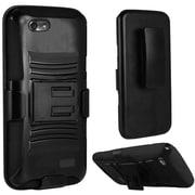 Insten Hard Dual Layer Plastic Silicone Case w/Holster For Huawei Raven LTE - Black