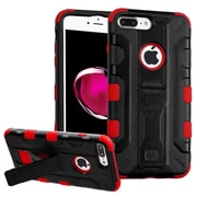 Insten Hard Hybrid Rubberized Silicone Case w/stand/Holster For Apple iPhone 7 Plus - Black/Red