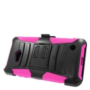 Insten Hard Hybrid Plastic Silicone Stand Case with Holster For Microsoft Lumia 640 - Black/Hot Pink