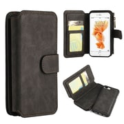 Insten Folio Leather Fabric Cover Case Zipper wallet w/stand/card slot/Photo Display For Apple iPhone 7 Plus - Black