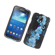 Insten Flowers Hard Case For Samsung Galaxy S4 Active - Black/Blue